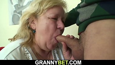 He doggy-fucks huge 60 years old grandma