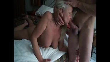 Hot grandma get mouth fucked by her lover