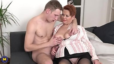 Laura H - Redhead grandma playing with a young cock (01.05.2019)