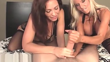 Busty gilf and milf wanking POV cock
