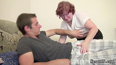 Hairy German Granny Teach Virgin Young Boy to Fuck