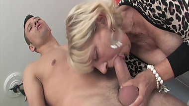 Shameless granny fucks with stepson
